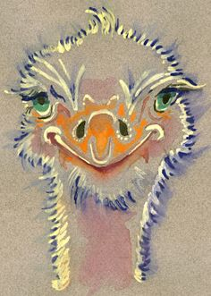 Ostrich Watercolor Painting Print, Artist-Signed