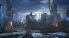 drag to resize or shift+drag to move Fantasy Landscape, Landscape Art, Apocalypse, Games Design, Sci Fi City, Anime City, Sci Fi Comics, Cities, Modern Architecture
