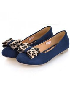 Essential Leopard Bow Ornament Blue Flats