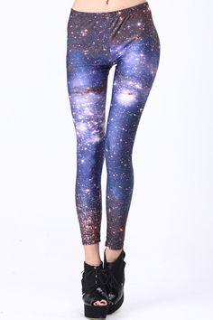 Starry Night Print Leggings #Romwe