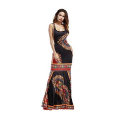 48ff46c294 Elegant sleeveless print women boho clothing 2018 summer wrap bodycon slim  Bohemian Floor-Length