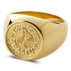 Buy Lucleon - Laif Gold-Tone Makt Ring for only Shop at Trendhim and get returns. We take pride in providing an excellent experience. Or Rouge, Ring Size Guide, Square Rings, Titanium Rings, Engraved Rings, Signet Ring, Vintage Diamond, Bling Bling, Wedding Bands