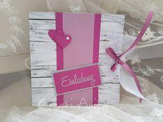Einladungskarte Hochzeit HOLZ PINK