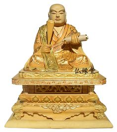 Buddhist image, total Tsuge high quality carving pastel coloring with thin gold leaf, 2.0 Nichiren holy priest 寸