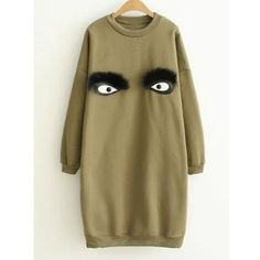 Crew Neck Eye Pattern Sweatshirt Dress (2945 RSD) ❤ liked on Polyvore featuring dresses, print dress, brown print dress, crew dresses, crew neck dress and mixed print dress