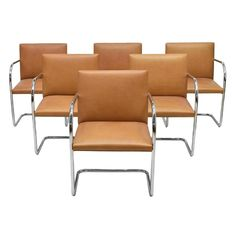 8f2e8b0147cb Mies Van Der Rohe For Knoll Brno Tan Leather Armchairs - Set of 6 For Sale