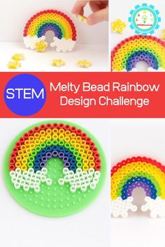 Kids can boost pattern skills, design skills, and fine motor skills with this super-fun and super-colorful Perler bead rainbow! Kids Learning Activities, Spring Activities, Stem Activities, Stem For Kids, Art For Kids, Coding For Kids, Rainbow Theme, Rainbow Crafts, Science Experiments Kids
