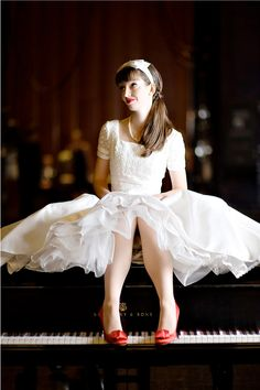 Love love love this! The sleeves, the red shoes, the length of the dress. Perfection. Piano Girl, Girly Girl, My Girl, Senior Pictures, Art Pictures, Girly Things, Ballet Skirt, Wedding Dresses, Skirts