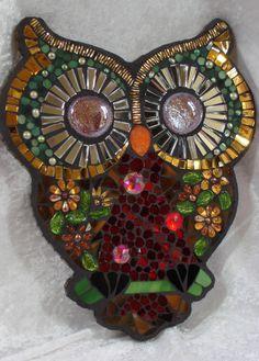 Sunflower owl, glass and beads  anniemarshallglass.blogspot.com