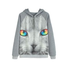 SheIn(sheinside) Contrast Trim Cat Print Hooded Sweatshirt ($17) ❤ liked on Polyvore featuring tops, hoodies, grey, pullover hoodie, hoodies pullover, sweater pullover, grey pullover hoodie and grey hoodies
