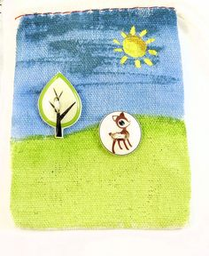 Handpainted Button Gift Bag  SMALL Muslin Gift by buttonsbyrobin, $2.99