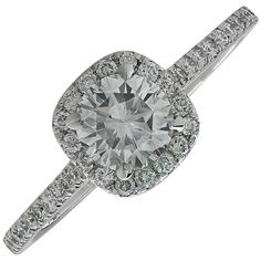 1.07 Carat GIA Cert Diamond Gold Engagement Ring | See more rare vintage Engagement Rings at https://www.1stdibs.com/jewelry/rings/engagement-rings
