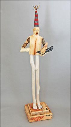 wood sculpture   Blackbird Boy by ElizabethFrank on Etsy