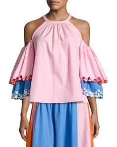 W0GSF Peter Pilotto Embroidered Cold-Shoulder Trapeze Blouse