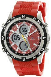 U.S. Polo Assn. Sport Men's US9136 Silver-Tone Watch with Red Silicone Band