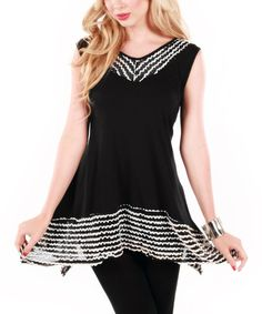 Look at this Aster Black & White Ribbon Trim V-Neck Top on #zulily today!