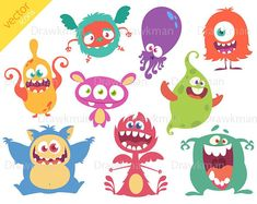 Items similar to Halloween Monsters Digital Clipart (vector illustrations) Limited Commercial License No Credit on Etsy Monster Illustration, Children's Book Illustration, Monster Characters, Cartoon Characters, Funny Monsters, Vector Illustrations, Funny Cartoons, Clip Art, Beautiful Body