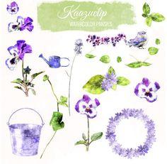 Watercolor Pansies' Set by Kaazuclip on Creative Market
