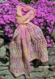 Ravelry: Janetct's Westerwald Waves Scarf knit with Yarns to Inspire Gossamer Lace.  Yarn can be purchased at https://www.etsy.com/shop/YarnstoInspire