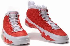 """Air Jordan 9 Retro True Red White Shoes,The symbolic """"jumpmans"""", debossed on the upper, always show us flight feeling, making these shoes more attractive!"""
