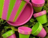 Small Flower Pots for Wedding Favors by HappyMooseGardenArt