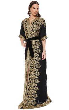 Naeem Khan Black And Gold Embroidered Caftan by Naeem Khan for Preorder on Moda Operandi