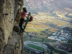 Via ferrata Monte Albano Extreme Sports, Rock Climbing, Pathways, The Good Place, Beautiful Places, Around The Worlds, Hiking, Scene, Adventure