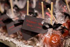Wedding Favors - Candy Apples - Harley Davidson Halloween Wedding - Cypress Grove Estate House in Orlando, FL - Photo by McKenzie Stewart Weddings - click pin for more - www.orangeblossombride.com