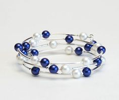 Navy Blue Floating Pearl Memory Wire Bracelet Navy by lilicharms