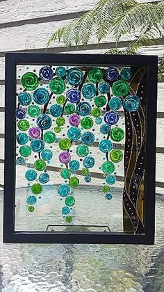 Tree art Abstract painting Glass painting Stained glass Painted glass Bohemian decor Sun catcher by CozyHome1 on Etsy