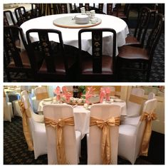 A dramatic before and after!     Dress up any standard banquet chairs with our Spandex Chair Covers/Crinkled Taffeta Sashes! www.bayarealinens.com