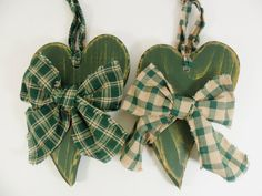 Primitive Wood Heart Green 7 1/4 ONE 1 Heart by CraftingDaily, $10.00