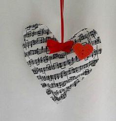 Handmade Music Note Hearts with Red Heart treland tptteam cccoe team statteam homespunsociety wedding valentine tenx bowl stuffers music note hearts red hearts music valentines 6.95 USD #goriani