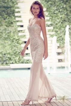 1b9d627fae8 Buy Lipsy VIP Lace Sheer Hem Bandeau Maxi Dress online today at Next   Malaysia