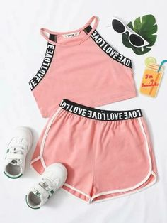 Kids Outfits Girls, Sporty Outfits, Cute Outfits For Kids, Cute Casual Outfits, Stylish Outfits, Summer Outfits, Girls Fashion Clothes, Teen Fashion Outfits, Dolphin Shorts