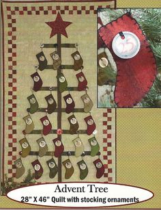 Primitive Folk Art Wall Quilt/Wool Applique Pattern:  ADVENT TREE KIT -  Aged Numbered Tags included. $17.50, via Etsy.