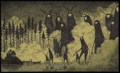 coming to get you monsters creatures post it note art drawing illustration don john kenn