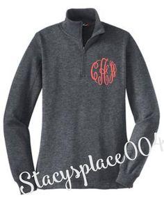 monogrammed sweater, monogrammed sweatshirt, 1/4 zip sweater, graphite heather