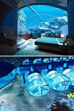 Underwater hotel room (in Figi) - Click image to find more Travel Pinterest pins