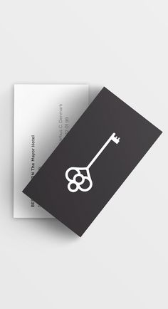 "Business cards for The Mayor Hotel. The graphic design for the new brand identity is based on the overall concept of ""the key to the city"" 