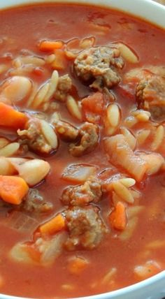 30 Minute Sausage and Tomato Soup Really good. Can use chick peas if cannelloni are not available Also added some other veggies from the garden. Tomato Soup Recipes, Sausage Recipes, Pork Recipes, Cooking Recipes, Orzo Soup, Barley Soup, Sausage Soup, Bacon Soup, Chili Soup