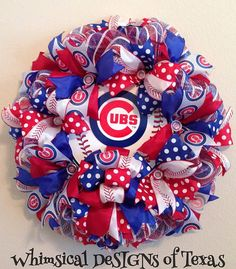 CHICAGO CUBS WREATH by WhimsicalDeSIGNsofTX on Etsy Baseball Wreaths, Sports Wreaths, Summer Wreath, 4th Of July Wreath, Summer Crafts, Diy And Crafts, Diy Wreath, Wreath Ideas, Deco Mesh Wreaths