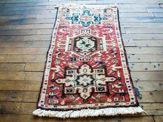 Vintage Persian Rug - Faded Rug, Pink Area Rug, Entry Rug, Wool Rug