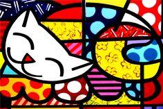 Envío Gratis RB Fondos de Pantalla Pintura de Dibujos Animados Gato precioso Custom Canvas Pósteres Romero Britto Pegatinas Decoración Del Hogar Regalo # PN #924 #(China (Mainland))