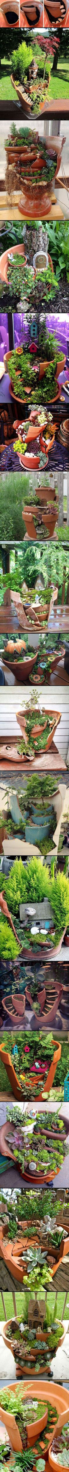 This decoration is simply beautiful. You can create real hobbit landscapes . This decoration is simply beautiful. You can create real hobbit landscapes or small gardens for fairies .: In modern cit. Garden Crafts, Garden Projects, Diy Garden, Garden Steps, Garden Care, Outdoor Projects, Diy Projects, Succulents Garden, Garden Pots