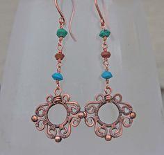 African Turquoise Copper Scroll Earrings by AlaskaFirefly on Etsy, $39.00