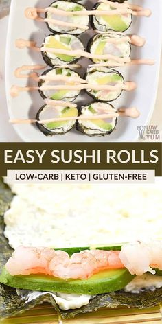 These delicious keto sushi rolls are a fresh and easy meal that's also low in carbs. It's perfect for when you are craving something seafood-inspired! Seafood Casserole Recipes, Keto Shrimp Recipes, Healthy Low Carb Recipes, Low Carb Dinner Recipes, Ketogenic Recipes, Ketogenic Diet, Sushi Roll Recipes, Low Carb Meats, Low Carb Appetizers