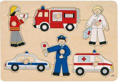 Rescue Vehicles Lift Out Puzzle - People Who Help Us - Understanding The World - Early Years - The Consortium Education Ambulance, People Who Help Us, Lifted Cars, Rescue Vehicles, Eyfs, Big Ben, Diy And Crafts, Family Guy, Kids Rugs