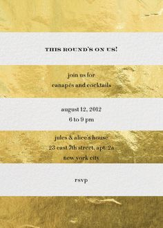 """Evergreen Stripes - Gold"" Invitation, by kate spade new york, Paperless Post"