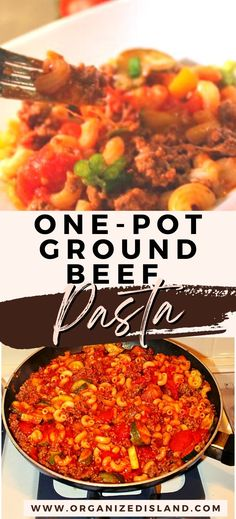 One pot beef pasta is an easy dinner idea made with ground beef, zucchini, peppers, tomatoes and pasta in a tasty and hearty one-pot meal.